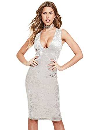 2310aa7ecae G by GUESS Women s Phoenix Velvet V-Cut Crisscross Back Midi Dress at Amazon  Women s Clothing store