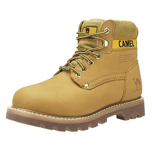 CAMEL CROWN Casual Botas de Cuero Botas Track de Tobillo Bajo Trabajando Botines Zapatos No-Seguridad de Otoño Invierno para Hombres Mujeres Café Negro ...
