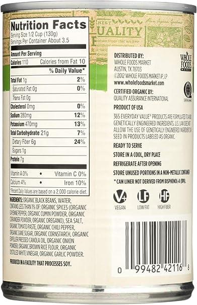 365 Everyday Value, Organic Black Beans, Spicy, 15 oz