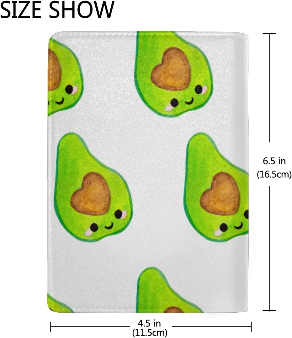 Passport Case For Men Cute Avocado And Tropical Leaves Stylish Pu Leather Travel Accessories Passport Holder Cover For Men For Women Men