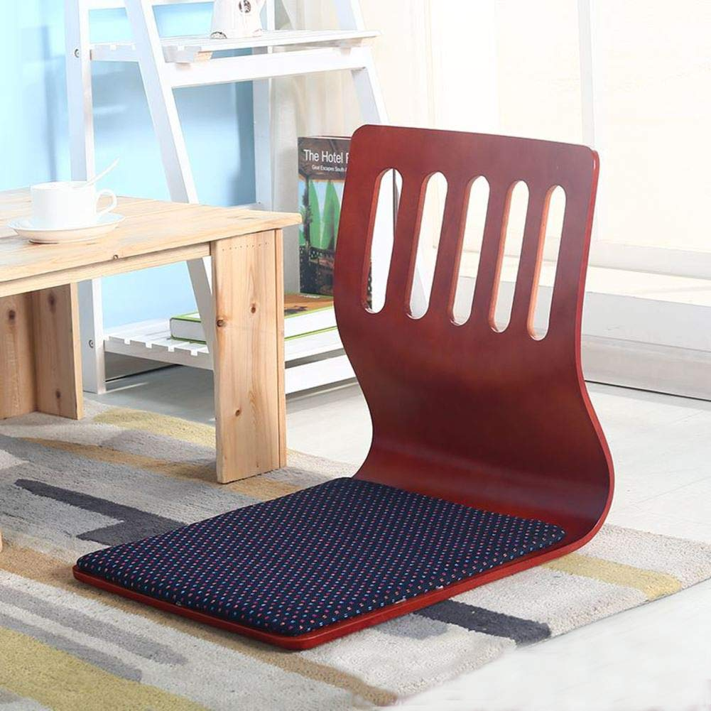 H&U Foldable Floor Chair,Padded Floor Chair With Back Support For Video-gaming Reading-Cherry red 46x37cm(18x15inch)