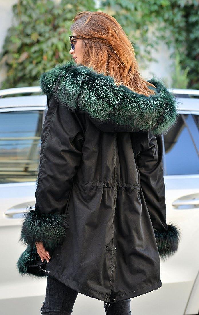 Aofur Damen Wintermantel Jacke Kunstfell Winterjacke Lange Kapuze Parka Elegant Jacke 36 38 40 44 44 46 48 50