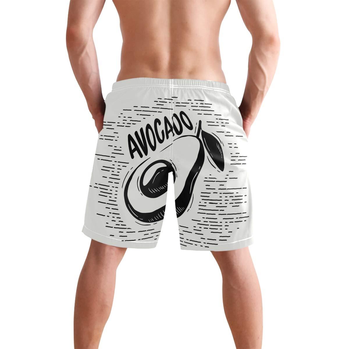 JERECY Mens Swim Trunks Retro Fruit Avocado Quick Dry Board Shorts with Drawstring and Pockets