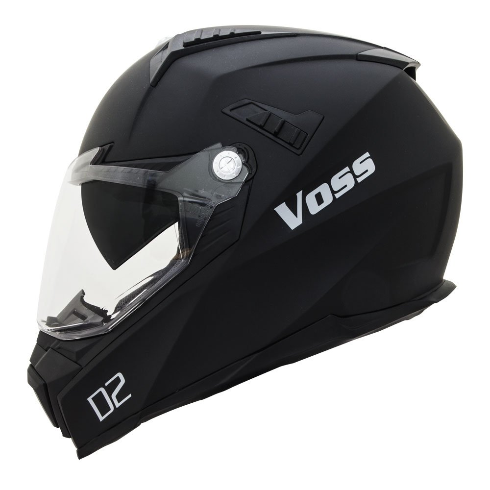 Amazon.com: Voss 601 D2 Dual Sport Helmet with Integrated Sun Lens and Ratchet Quick Release System - Large - Matte Black: Automotive