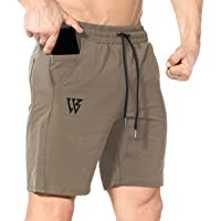 ZENWILL Mens Gym Running Shorts,Hidden Zip Cotton Men's Workout Athletic Shorts with Pockets