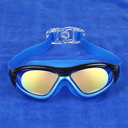 LXKMTYJ Lunettes de natation HD étanche anti-buée plongée professionnels garçons et filles, bleu