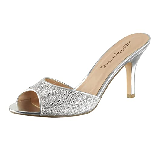 Amazon.com | Womens Silver Dress Sandals Rhinestones Slides Shoes ...