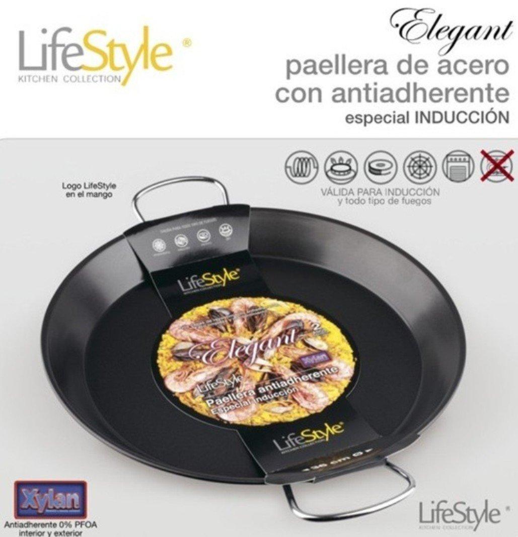 Life Style - Paellera de Aluminio con Antiadherente - 32 cm - 4 Raciones - Negra: Amazon.es: Hogar