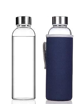 Julio Sky elegante cristal de borosilicato portátil botella de agua (18.5oz/12.6oz