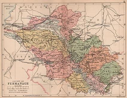 Antique county map Ireland COUNTY CAVAN BARTHOLOMEW 1882 old Ulster