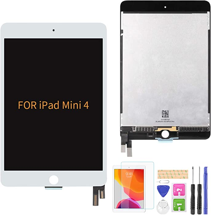 A-MIND for iPad Mini 4 Screen Replacement A1538 A1550 LCD Display Touch Screen digitizer Assembly Without Home Button,with Free Tool Repair Kit & Screen Protector (White)