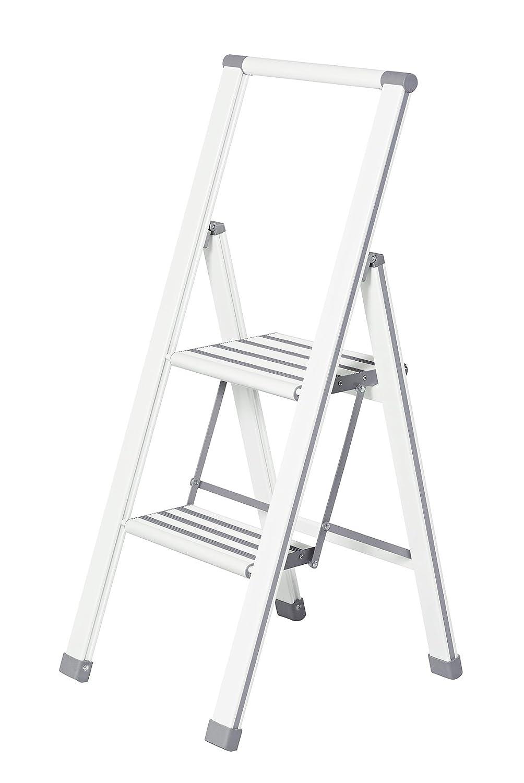 Wenko 601015100 Escabeau Pliable avec 2 Marches, Aluminium, Blanc/Gris, 44 x 101 x 5,5 cm