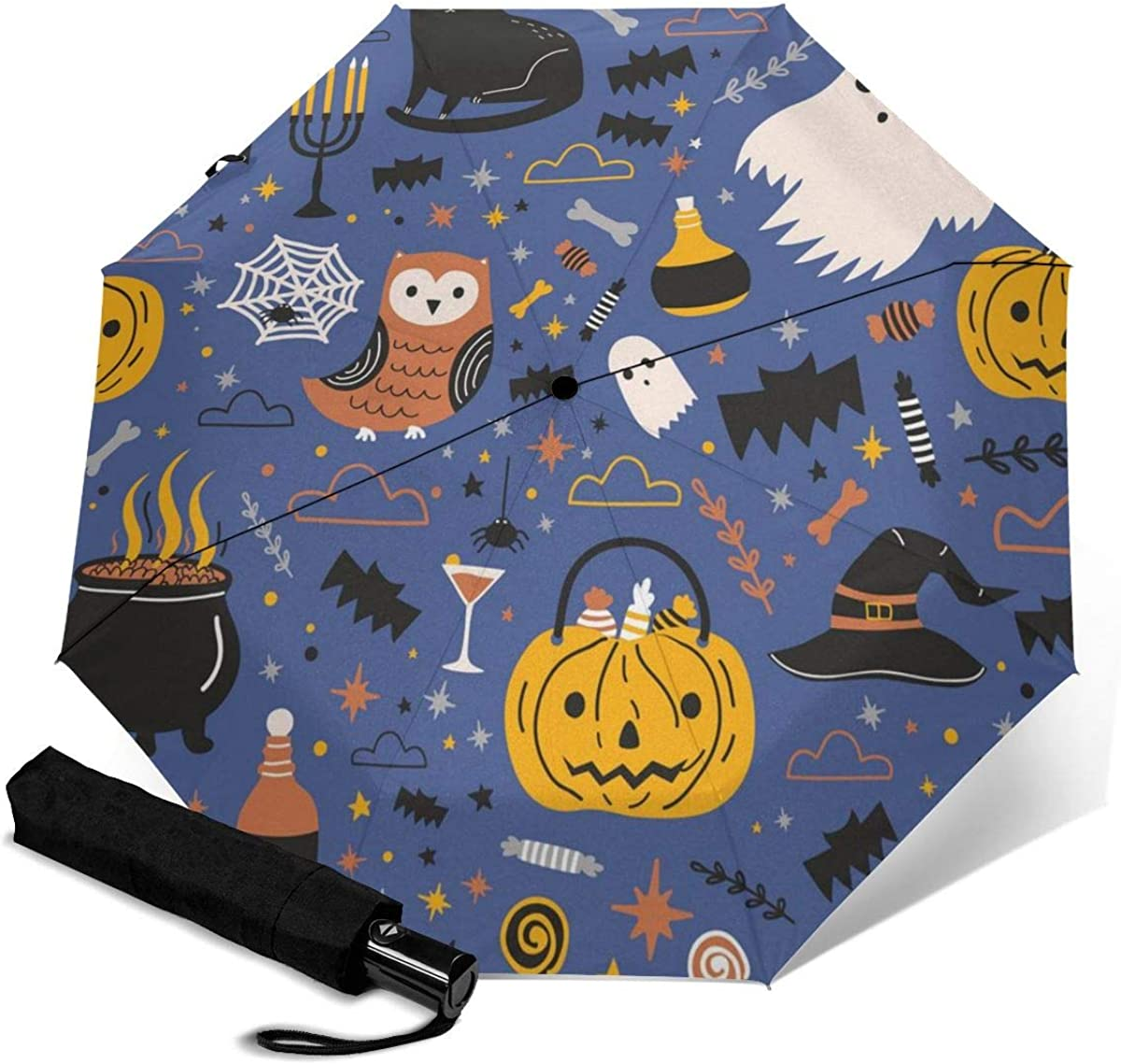 Halloween Funny Spooky Magic Compact Travel Umbrella Windproof Reinforced Canopy 8 Ribs Umbrella Auto Open And Close Button Personalized