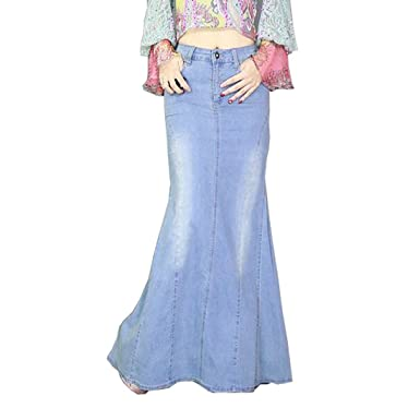 cc4c3d218 2018 Spring Vintage Stretch Fishtail Ladies Denim Jeans Long Maxi Skirts  Womens at Amazon Women's Clothing store: