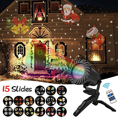 Christmas Lights Projector, 15 Slides Waterproof Holiday Light with Remote Control