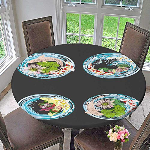 PINAFORE HOME Circular Table Cover Set Lotus and koi for Tattoo Greet Card Garden Invitation Card for Wedding/Banquet 31.5