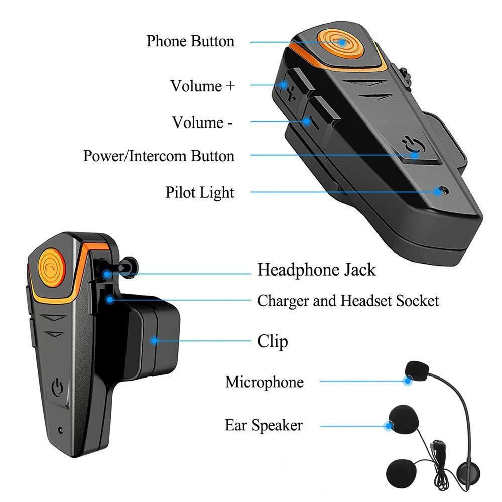 Microfono Morbido BETOWEY BT-S2 Interfono Moto Singolo GPS MP3 Distanza 1000m Auricolari Bluetooth per Casco Moto Impermeabile Radio 2-3 Motociclisti