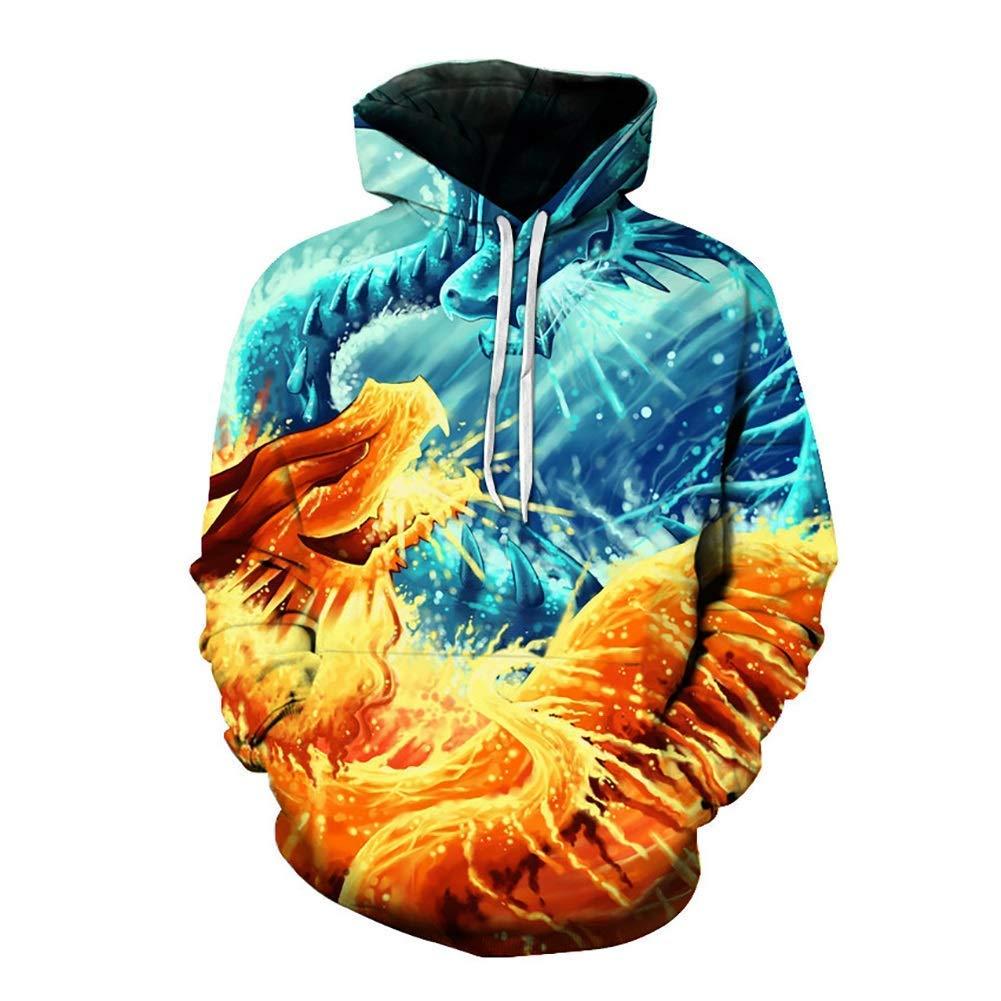 FuweiEncore Herren Sweatshirts, Herbst Winter Unisex Mode 3D Pullover mit Kapuze Hoodie Sweatshirt Tops sportlich lässig mit Taschen (Farbe   1, Größe   XL) (Farbe   1, Größe   XXXL)