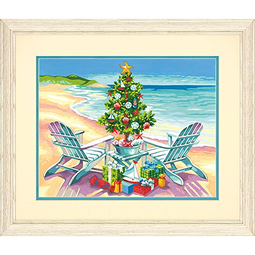 Dimensions 73-91616 Christmas on The Beach Paint by Numbers for Adults, 14'' W x 11'' L