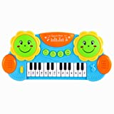 Bajoy キーボード おもちゃ 電子ピアノ 音と光を楽しめるドラム 鍵盤楽器 知育玩具 4つモード スタンド付き プレゼントに最適 (ブルー)