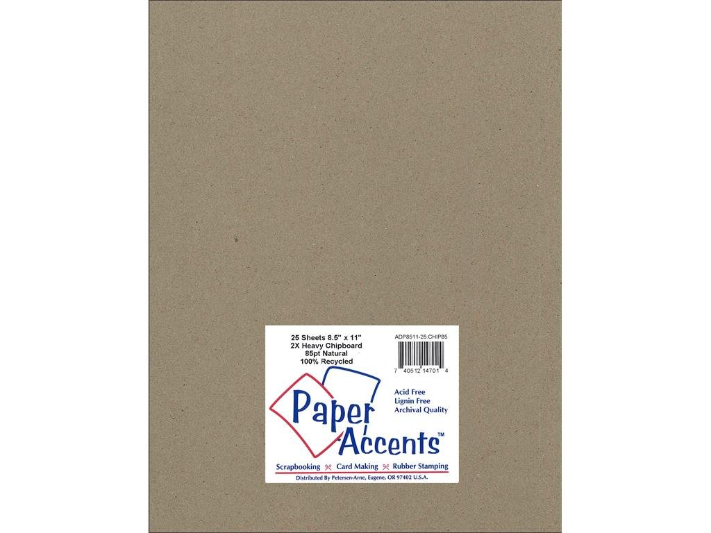 Accent Design Paper Accents ADP8511-25.CHIP85 2X Heavy 85 Point 8.5 x 11 Natural Chipboard Card Stock