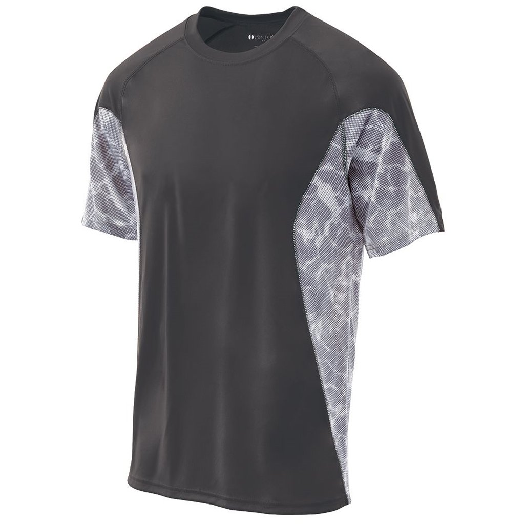 Holloway Youth Dry Tidal Shirt Semi-Fitted (Medium, Graphite/White Print) by Holloway