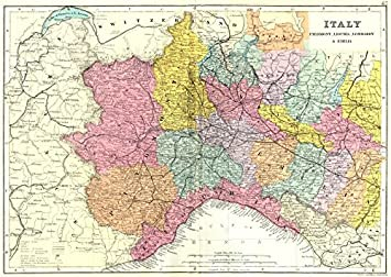Map Of North West Italy.Italy North West Piedmont Liguria Lombardy Emilia Bacon 1895