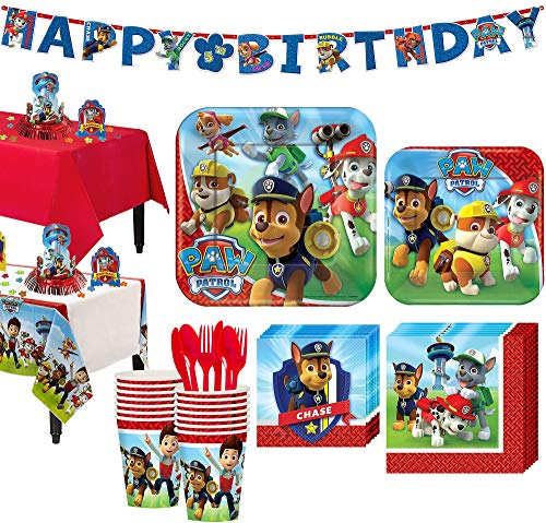 Party City Paw Patrol Tableware Party Kit and Supplies for 16 Guests, with Tables Covers, Table Decorating Kit, Banner ()