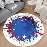 Nalahome Modern Flannel Microfiber Non-Slip Machine Washable Round Area Rug-ball Soccer Ball with Splashed Like Digital Background Image Ruby Dark Blue White and Red area rugs Home Decor-Round 75''