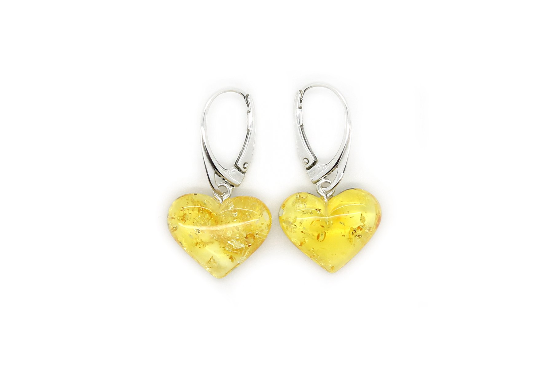 Genuine Natural Baltic Amber Dangle Leverback Earrings Hearts