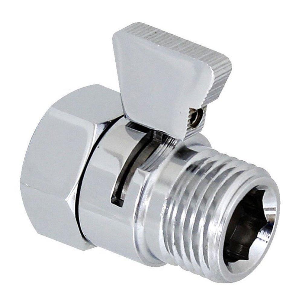 Interior Solutions Shower Head Flow Control Shut Off Valve Water Flow Reducing Controller for Bidet Sprayer Shower Head Supply Water Stop Brass Chrome