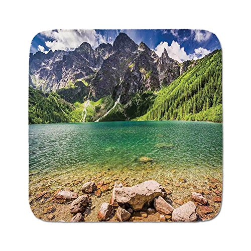 Cozy Seat Protector Pads Cushion Area Rug,Mountain,Lake Tatra and Mountains Poland Forest at Sunrise Rocky Shore,Green Turquoise Light Brown,Easy to Use on Any (Tatra Sink)