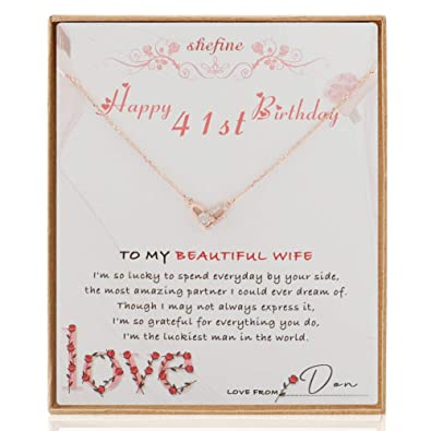 Amazon Wife 41st Birthday Gift Gifts For Present Tiny Heart Sterling Silver Necklace Jewelry