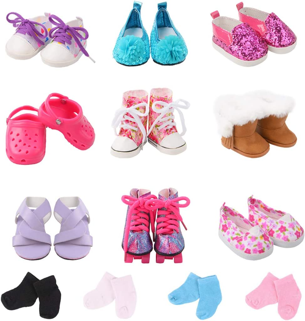 iBayda Doll Accessories Include 9 Pairs Doll Shoes+2 Pairs Random Color Doll Socks for 18 inch Dolls Like American Girl Doll, Journey Girl Doll