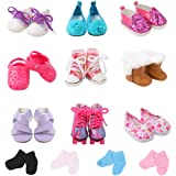 TIANMI 9 Pairs of Shoes Including Panda Shoes,Boots,Skates and More 3 Pairs of Socks Fits for 18 Inch Doll Shoes American Dolls Accessories