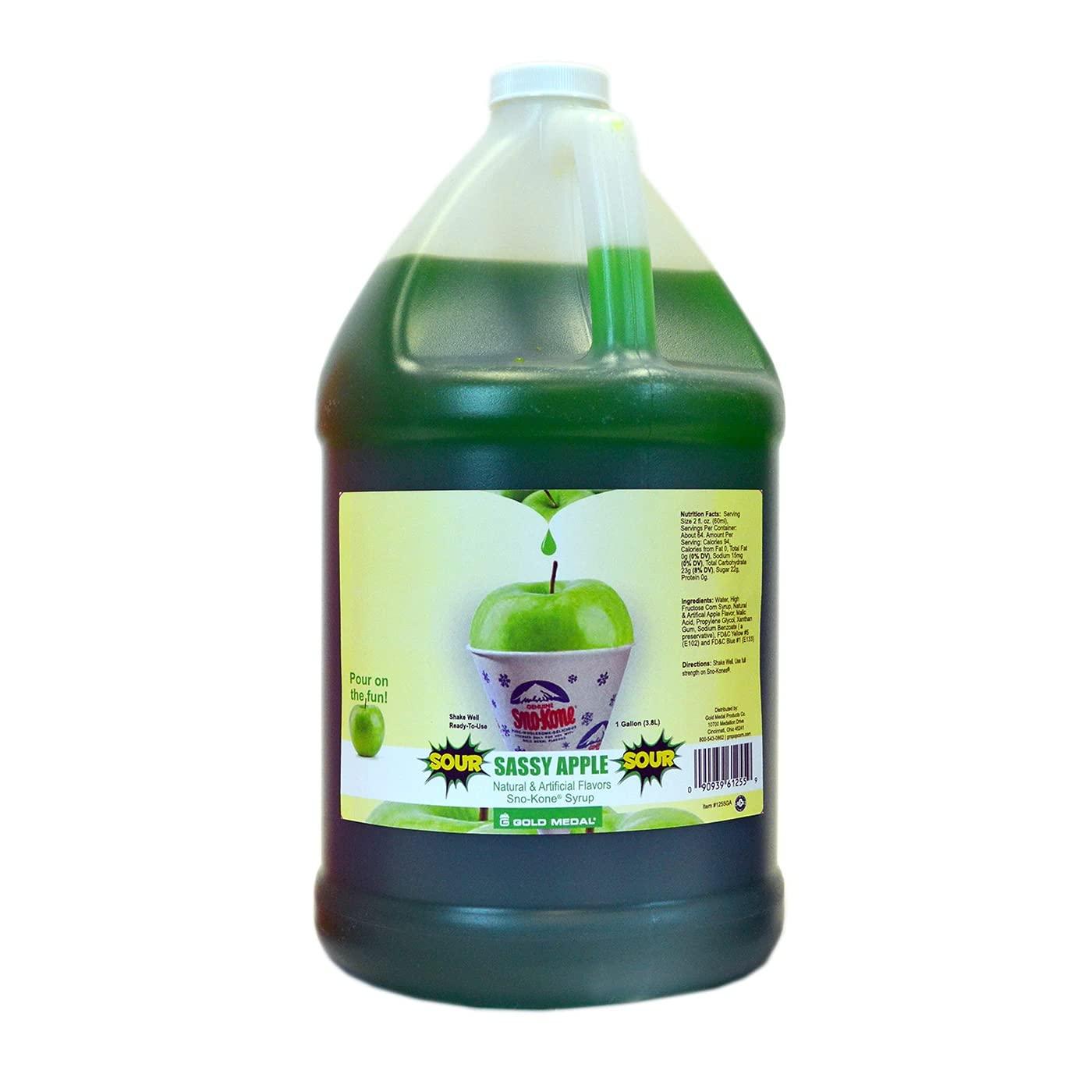 Concession Essentials Snow Cone Syrup Gallon- Sour Apple Snow Cone Syrup, 1 gal, Sour Apple