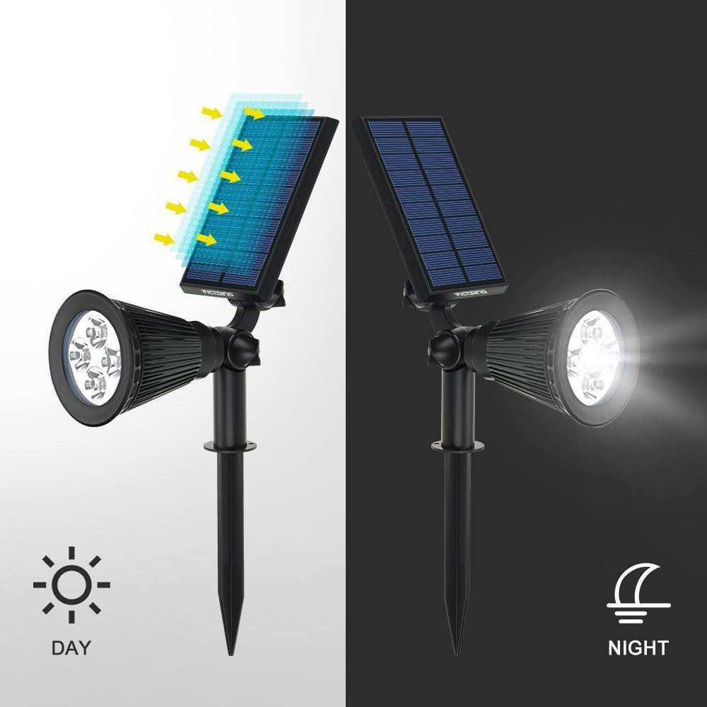 Techcode 2 Pcs Led Lights Solar Lamps 5v 2w Torches Ip44