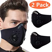 2 Pack Dust Mask - Anti Air Pollution Smoke Mask - Reusable Face Mask, Adjustable PM2.5 Air Filter Mask, Activated Carbon Dustproof Sport Mask for Outdoor(Black)