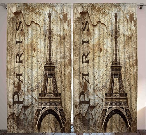 Paris Decor for Bedroom Curtains City Decor Living Room Decorations Eiffel Tower Accessories in French Style Two Panels Set 108 X 84 Inches Home Fashion with Parisian Themed Artwork, Beige (Brown Eiffel Tower)