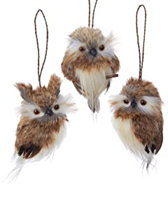 "Kurt Adler 4"" Brown Hanging Owl Ornament Set"