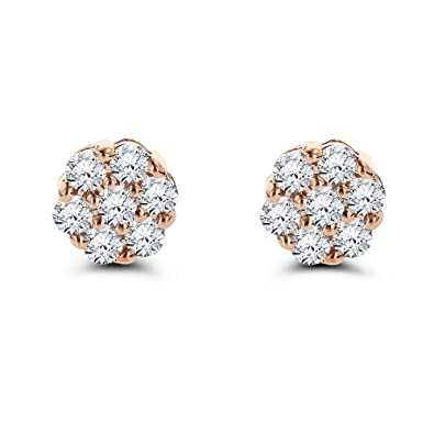 539fb2c5dafa4 Luxurman Ladies 14k Gold Natural Diamond Clusters Earrings Studs For Her (1  Ctw,GH Color)