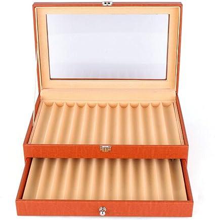 MOMOJA Caja expositora para bolígrafos caja de almacenamiento Vitrina Expositor para 24/36 pluma estilográfica (Naranja 24 plumas): Amazon.es: Oficina y papelería