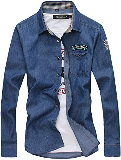 Star-bw Camisa Hombre Vaqueros algodón 45% Manga Larga Demin Casual gant Juvenil (XXL, Azul Profundo): Amazon.es: Ropa y accesorios