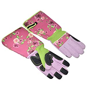 Long Sleeve Gardening Gloves Pruning Thornproof Garden Gloves with Extra Long Forearm Protection for Gardener - Puncture Resistant (Floral)