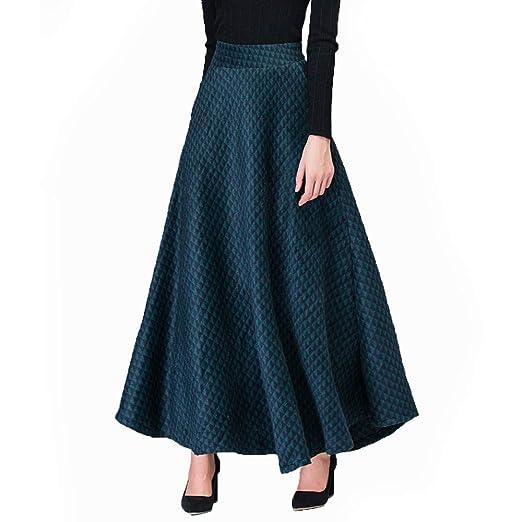 MX Falda Larga Mujer A Cuadros Plisado Vintage Elegante De Lana De ...