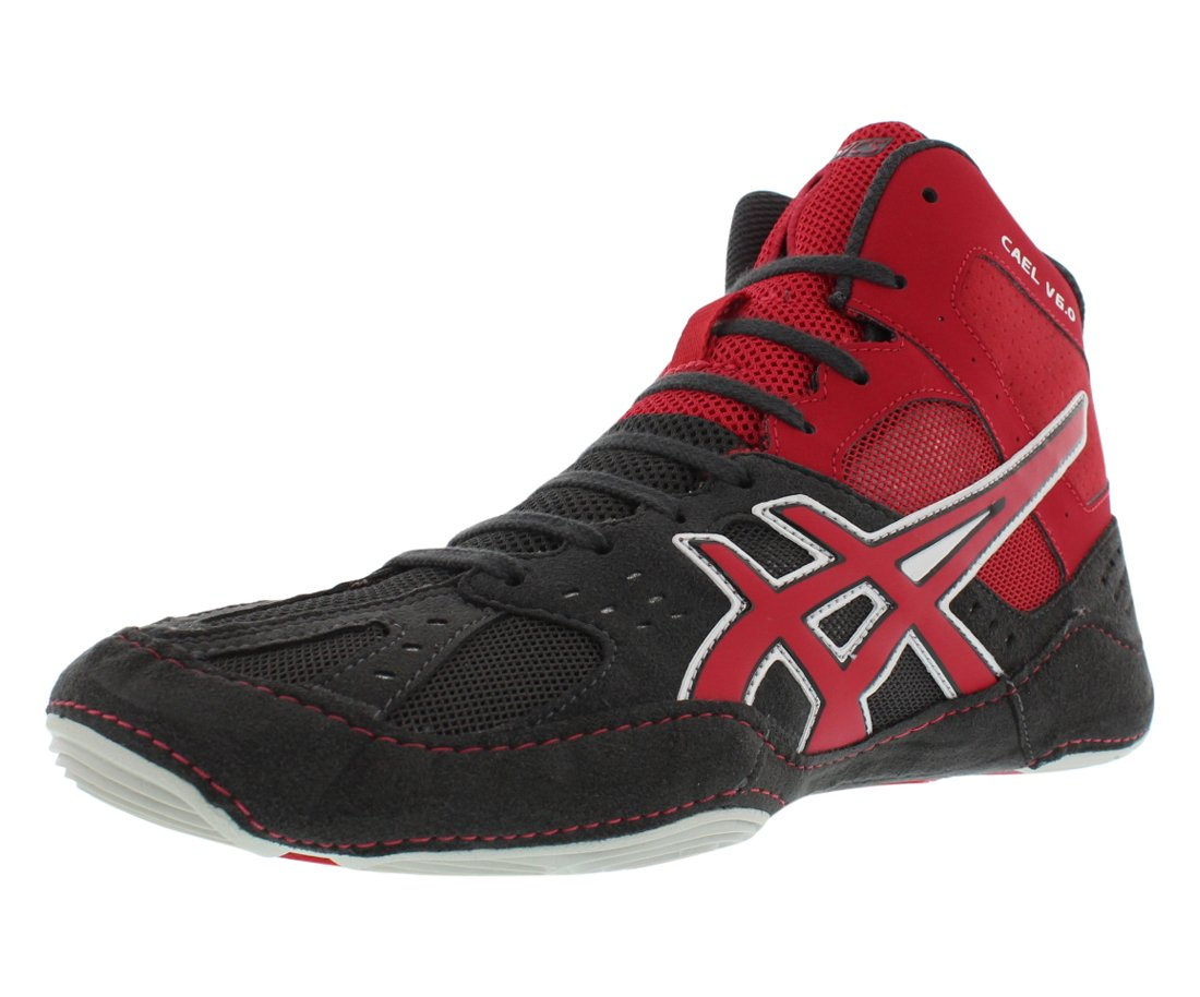 ASICS Men's Cael V6.0 Wrestling Shoe,Charcoal/Fire Red/Silver,8.5 M US by ASICS