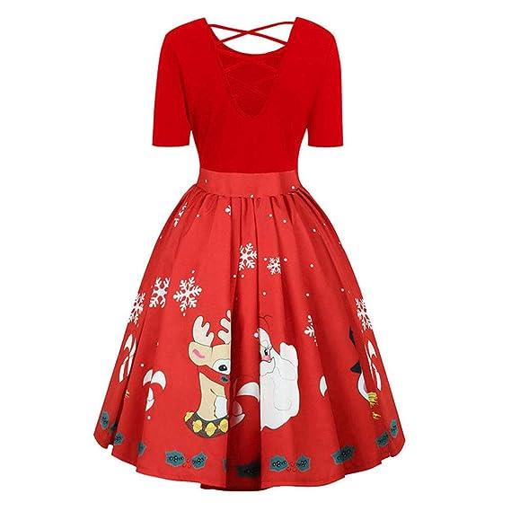 be3efbe69f3be WangsCanis Femme Robe Longue avec des Motifs Père Noël Cerf Robe en Manche  Courte  Amazon.fr  Vêtements et accessoires