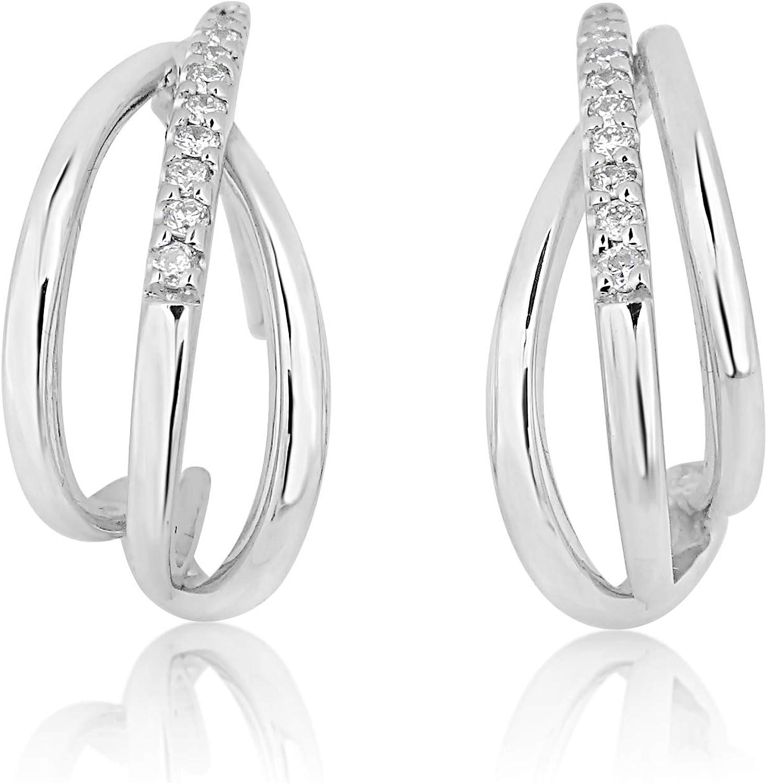 MILLE AMORI ∞ Pendientes para mujer oro y diamante ∞ oro blanco de 9 quilates 375 Diamantes 0.18 K ∞ Florence Collection