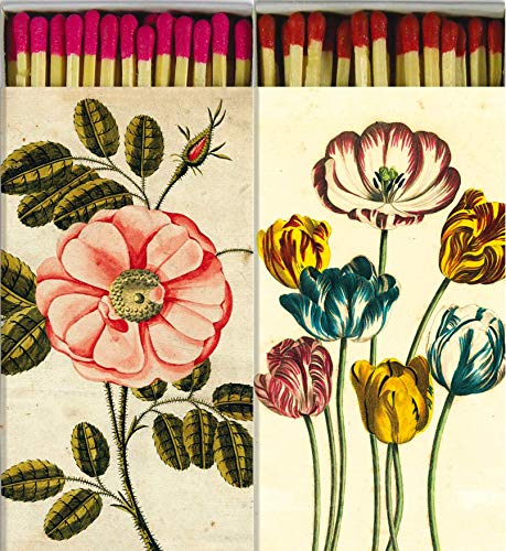 Decorative Matches Beautiful Rose and Tulips Match Boxes with Long Kitchen Matches Great for Lighting Candles, Grills, Fireplaces and More | Set of 2 Large Match Boxes