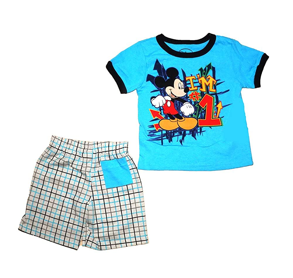 Disney Mickey Mouse Im #1 T Shirt and Short Set and Navy and Green